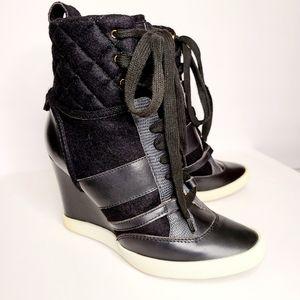 Chloe Kasia Black Leather Wool Wedge Sneakers 7
